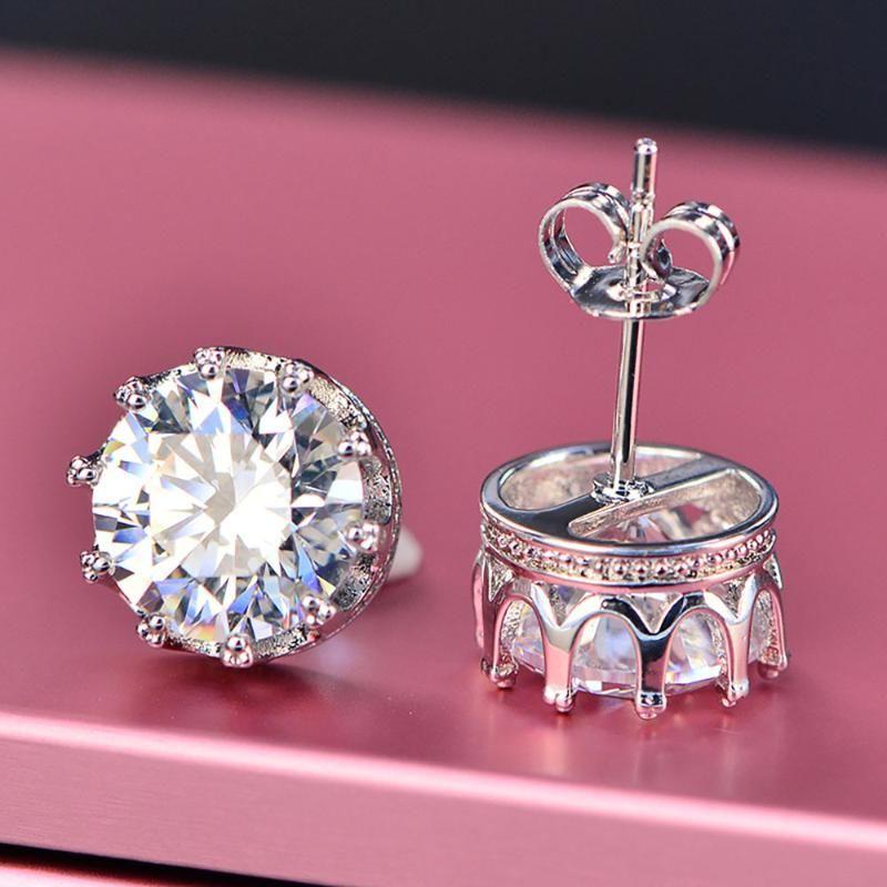 Stud Elegant 925 Sterling Silver Crown Earring 8mm Simulate Moissanite High Carbon Earrings For Women Fine Jewelry Wedding Gift