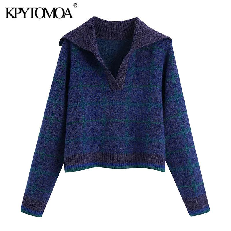 KPYTOMOA Women Fashion With Ribbed Trim Check Cropped Knitted Sweater Vintage Long Sleeve Female Pullovers Chic Tops 210218