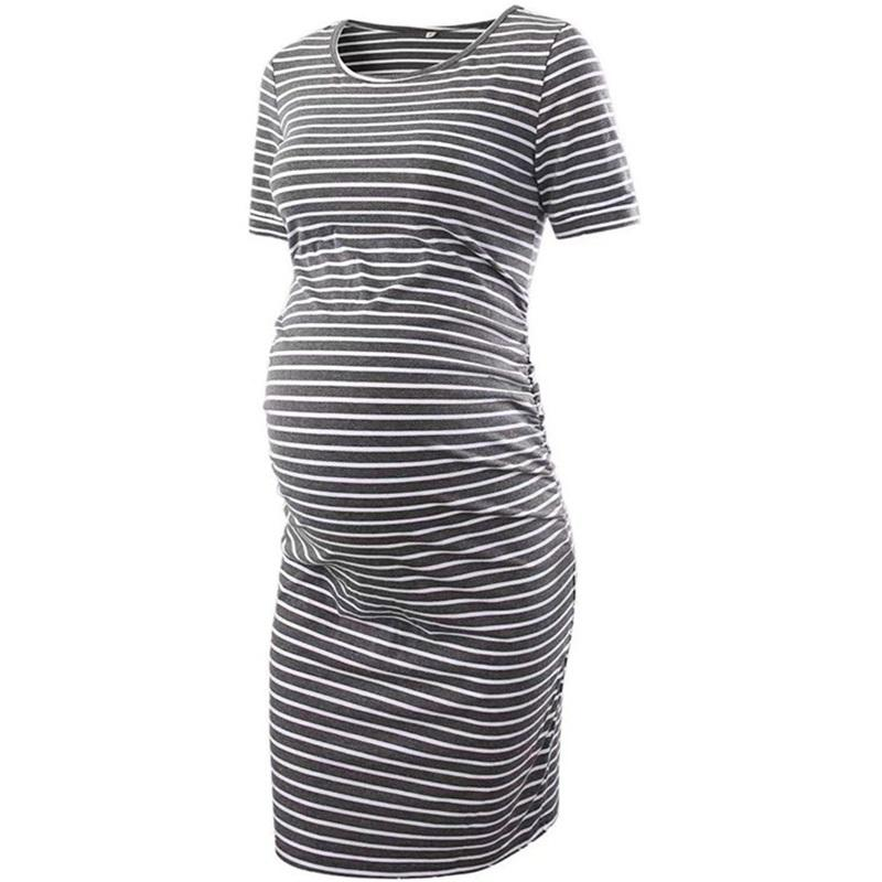 Maternity Dresses Women's Side Ruched Clothes Bodycon Dress Mama Casual Short Sleeve Wrap Womens Clothing Plus Size 1555 B3