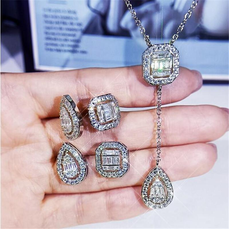 2021 New Arrival Luxury Jewelry Set Square Earring 925 Sterling Silver Women Open Ring Princess Cut White 5A CZ Diamond Clavicle Necklace