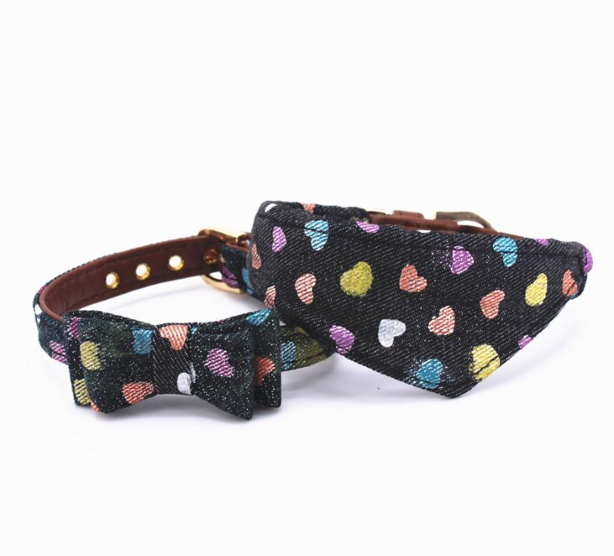 Dog Collars & Leashes Blink Jeans Collar Cat Leash For Cats And Small Medium Dogs With Bowknot Or Scarf Pet