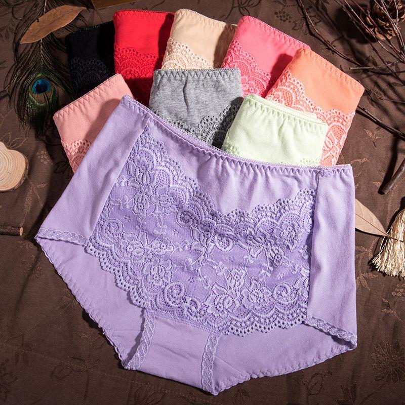 Хлопковое нижнее белье Женская высокая талия кружева удобный треугольник сплошной цвет большой размер жира мм сексуальные дышащие модные брюки