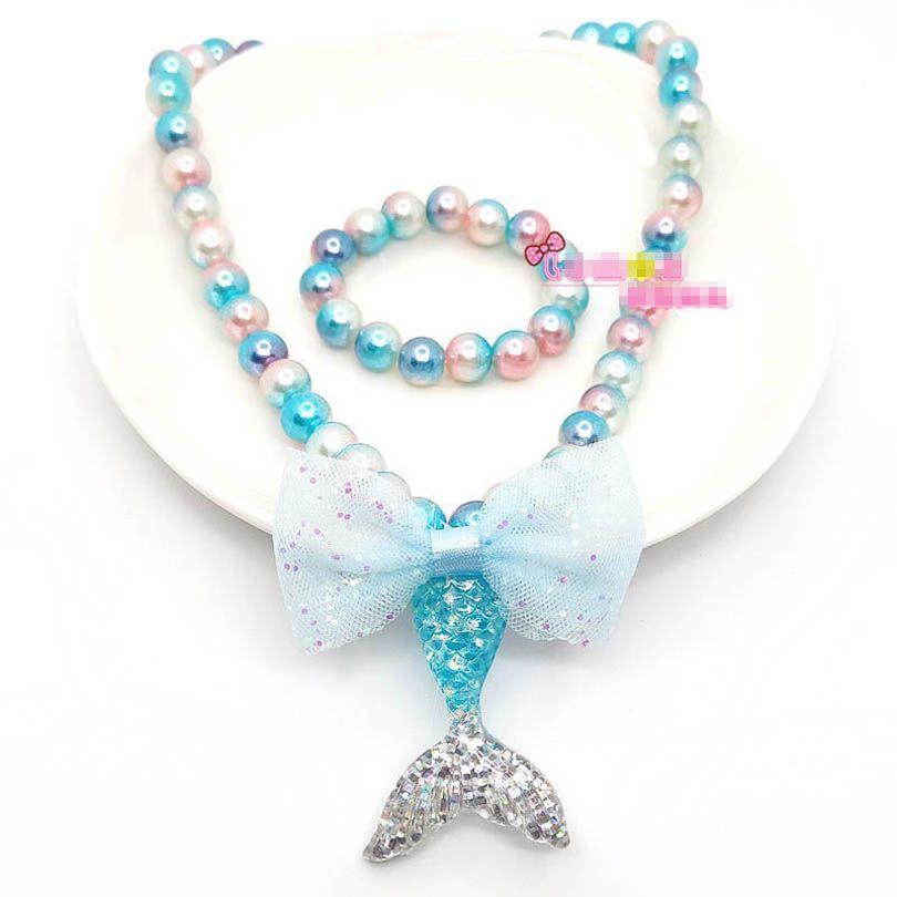 حورية البحر اللؤلؤ بنات قلادة سوار 2 قطع الاطفال مجموعات مجوهرات الدانتيل bowknot أزياء الفتيات الملحقات B3886