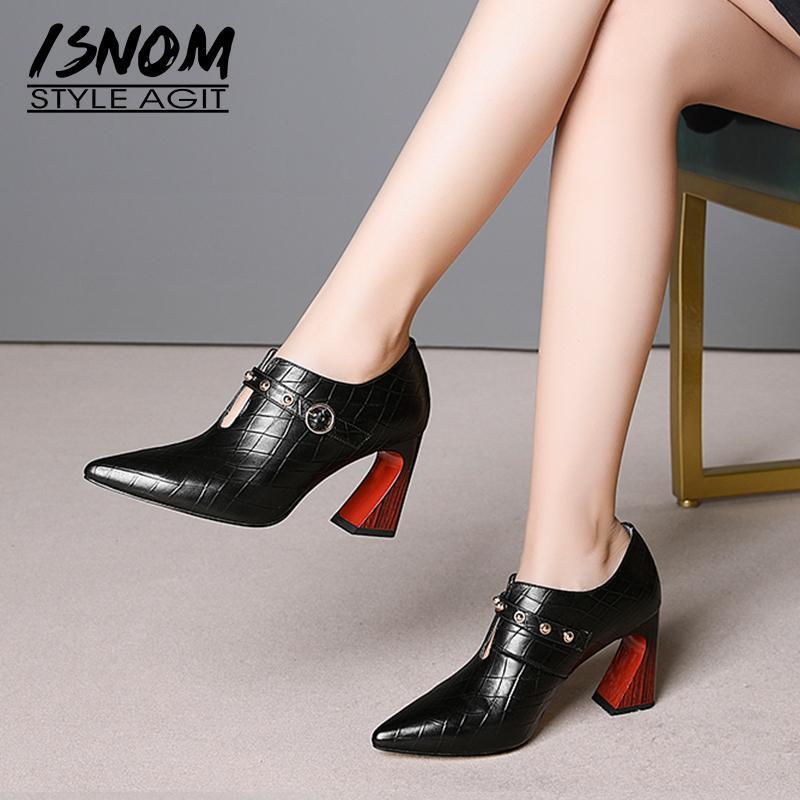Kleid Schuhe Isnom Echtes Leder Frauen Pumps Spitz Schuhe Schuhe Prägem High Heels Dame Mode Bolzen Frau Frühling 2021