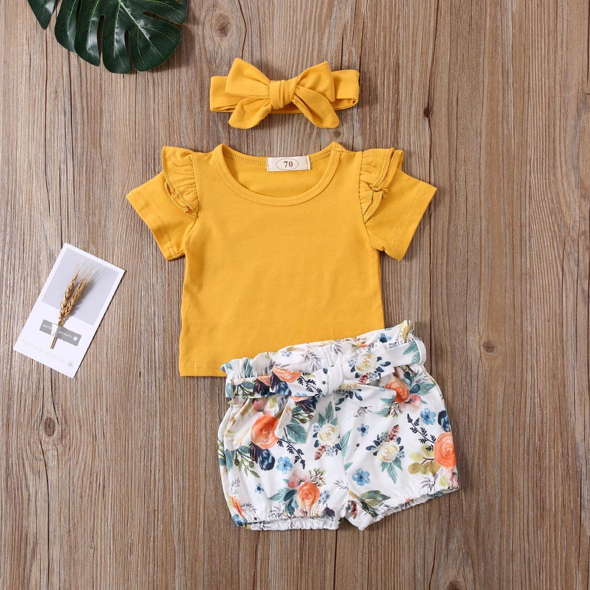 0-24M Baby Mädchen Kleidung Sets Mädchen Rüschenhülse Kurzarm T-shirts Tops + Floral Shorts + Stirnband 3 stücke Für Säugling