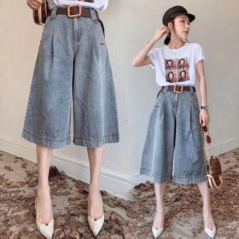 Jeans hauts jeans été coréen lâche lâche droite section mince recadrée shorts larges jambe jeans jeans jeans