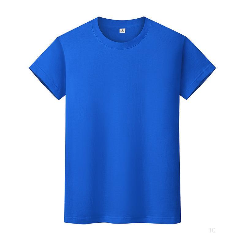 Nouveau t-shirt de couleur solide à col rond en coton de coton de coton Hommes manches courtes et femmes à manches longues Yvqaii