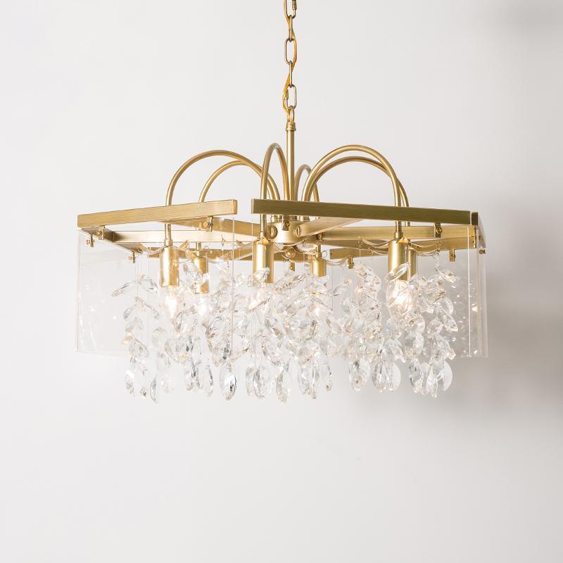 American Country Crystal Crystal Chastelier Золотое освещение для живой столовой спальня Спальня, висит блеск светильника новой лампы AC 110-220V