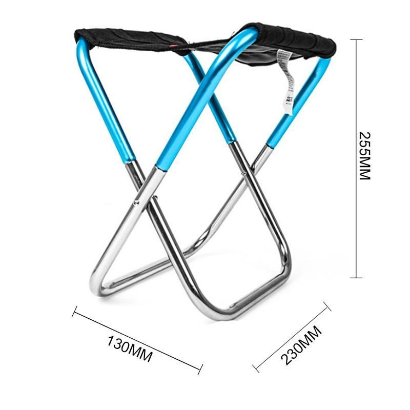 Outdoor Multifunction Small Portable Durable Mini Camping Folding Lightweight Stool (color: blue) Fishing Picnic Convenient Parts Aluminum A