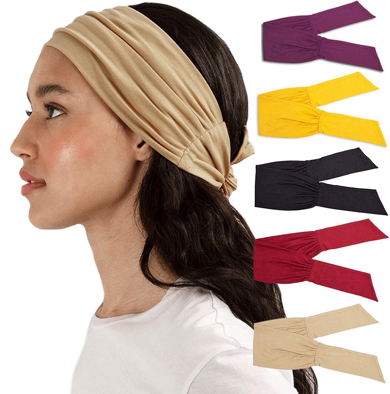 Frauen verknotet Kreuz Stretch Breites Stirnband Sport Yoga Headwrap Haarband Turban Head Band Damen Haarschmuck