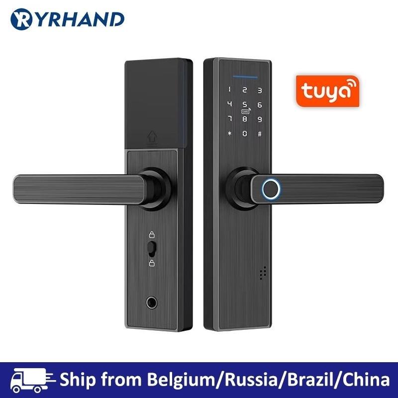 Tuya Smart Door Herfer Lock, Becial Home Black Lock, Wi-Fi Password Rfid Card Lock Беспроводное приложение Телефон Пульт дистанционного управления Y200407