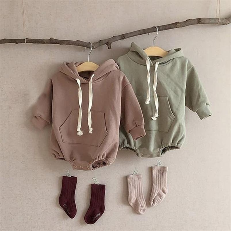 Baby Boys Girls Clothes Hoodie Long Sleeved Cute Solid Romper Spring Autumn Pure Cotton Infant Kids Fleece Thicken Jumpsuits 210729