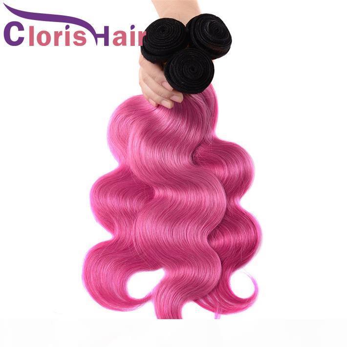 Розовые розовые OMBRE Weave пучки волнистые малазийские волосы девственницы темные корни 1b розовый кузовной волна OMBRE наращивание волос человеческих волос 100 г ПК здоровый конец
