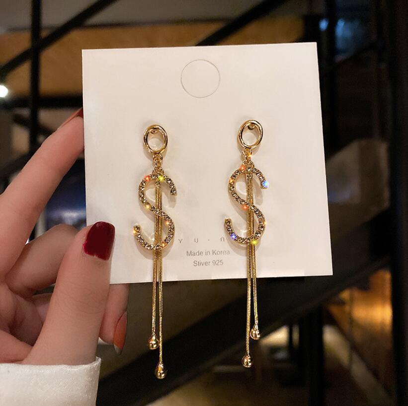 925 Aiguille Silver Boucles d'oreilles en tempérament coréen Boucles d'oreilles Tassel Full Diamond S Niche Design Boucles d'oreilles pour femmes