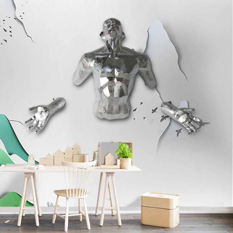 الكائنات الزخرفية التماثيل لامعة بارد 3d شخصية جدار النحت الملاك رجل شنقا تمثال المنزل الديكور الحرف اليدوية الأوروبية الرجعية الفن