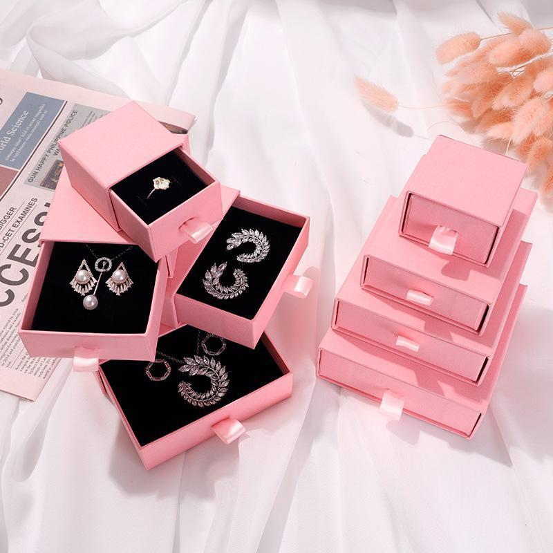 هدية التفاف 10 قطع الوردي درج نوع ورقة مربع ل التعبئة والتغليف القرط مجوهرات صناديق من الورق المقوى diy مجوهرات عرض تخزين التعبئة
