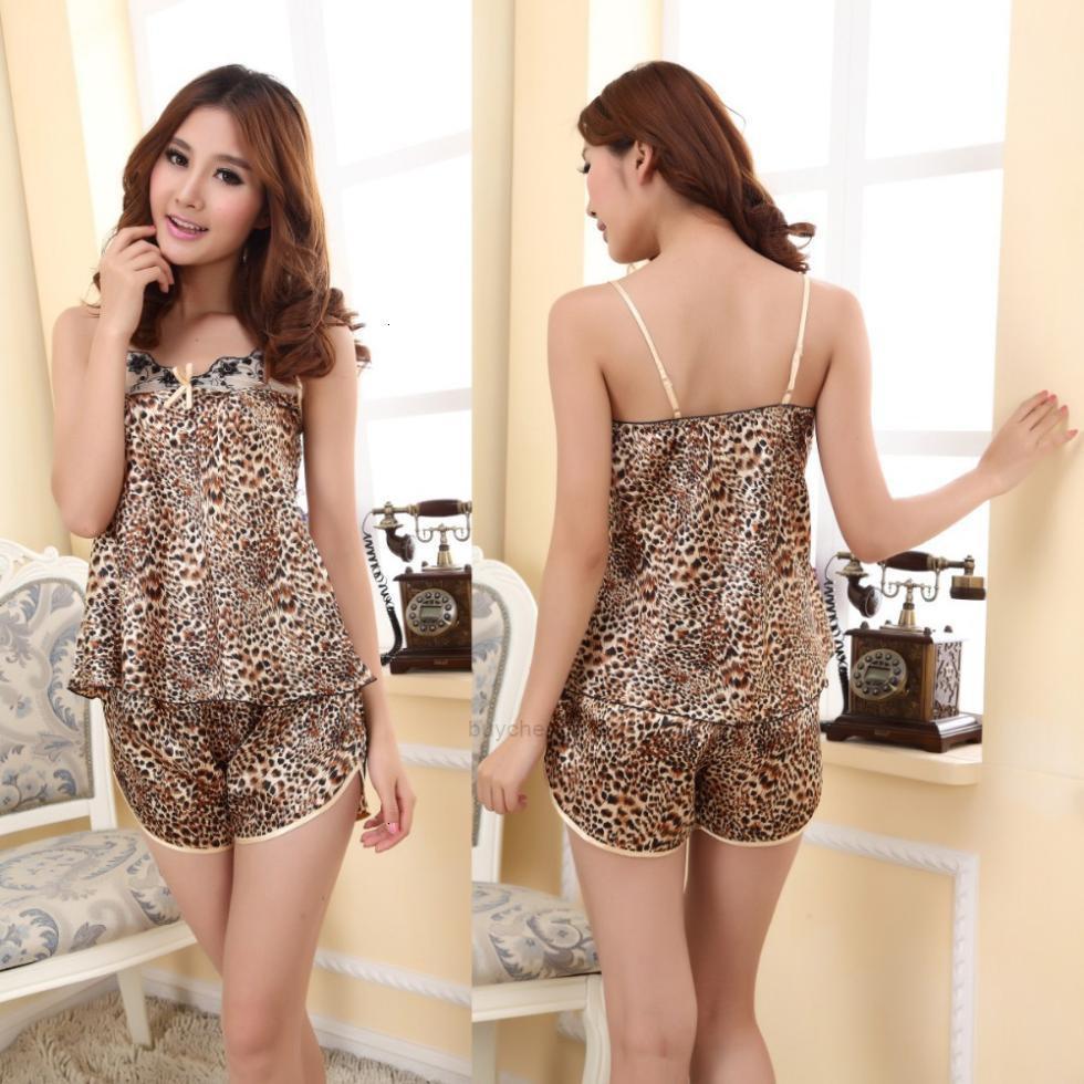 Shirts Seide Leopard V-Ausschnitt Womens Shorts Unterwäsche Imitierte Pyjama-Set Nachtwäsche Freies Verschiffen XHZZEE4