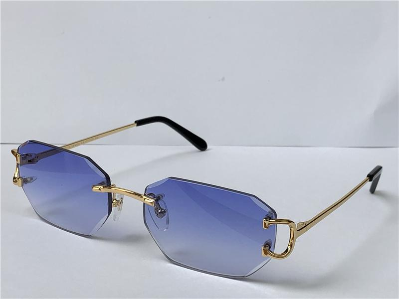 Venta de gafas de sol vintage Piccadilly irregular Sin marco de diamante Corte de lentes de lentes de moda Retro Avant-Garde Design UV400 Color claro Gafas decorativas 0103