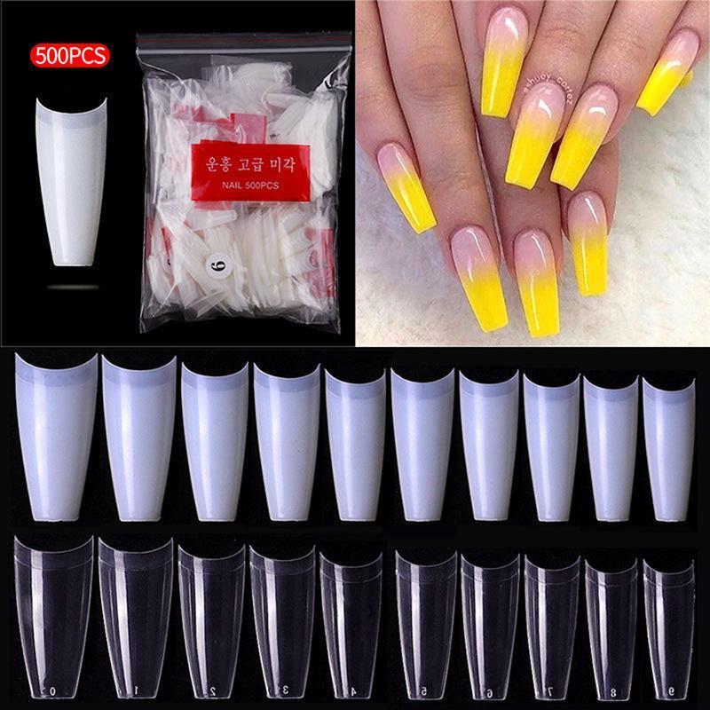 Falsche Nägel 500 stücke klar Natürliche extra lange Stiletto Gefälschte Nagelspitzen Set Acryl Hälfte Abdeckung Transparent Salon