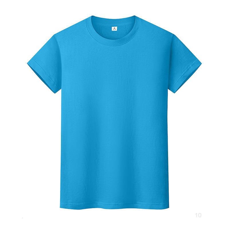 T-shirt de couleur solide neuf Col à col rond Chemise à dos en coton à manches courtes et à manches courtes à mi-manches 5zbbio