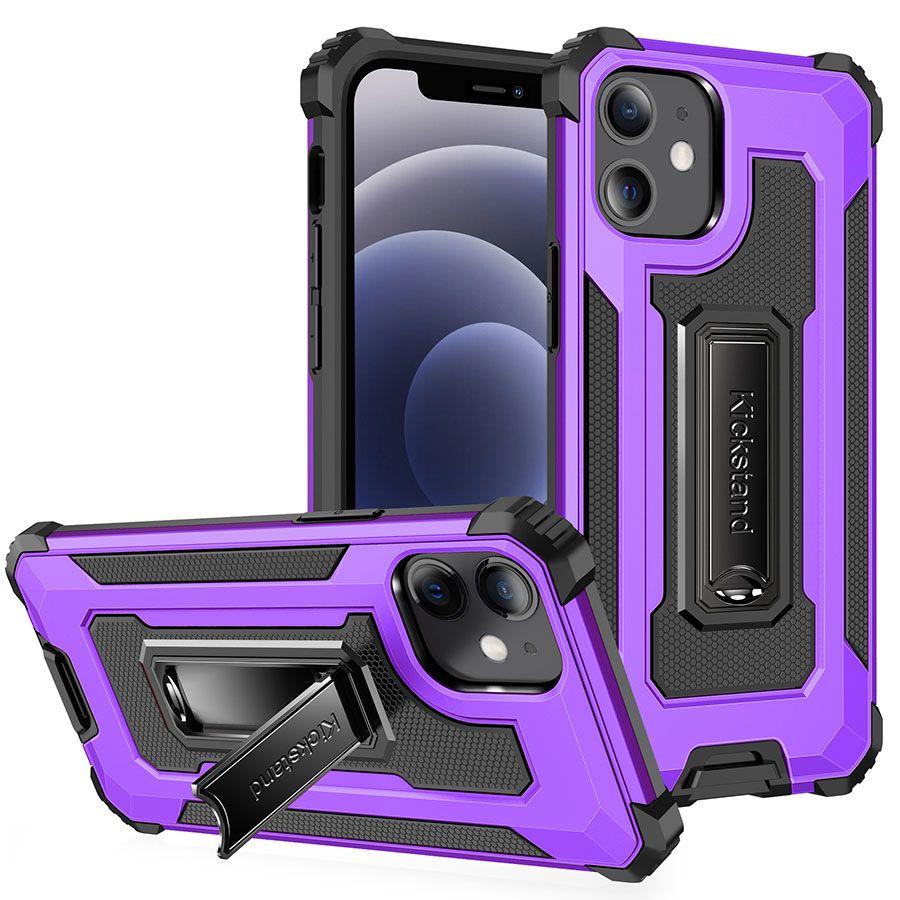 Boîtier de protection antichoc de qualité militaire Couverture arrière de protection corporelle avec kickstand de plistible magnétique pour iPhone Samsung LG Moto Huawei