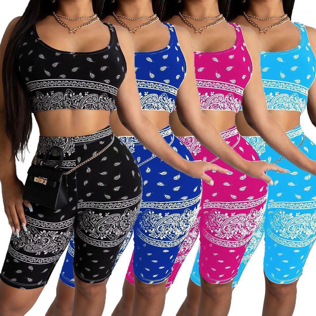 Tracksuits sans manches Digital Print Tanks Shorts Sport Mesdames Mode Casual Femme Vêtements 2021 Nouveaux Femmes