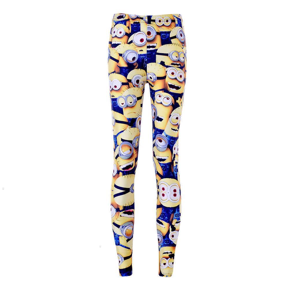 Мода эластичные штаны мультфильм маленькая желтая фигура Леггинсы Желтые штаны