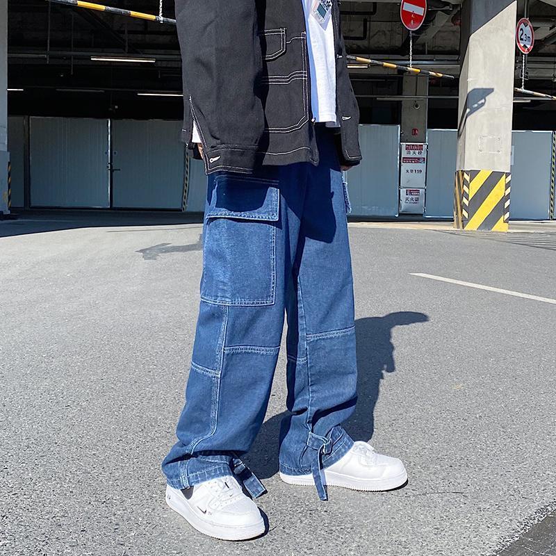 Boyutu S-5XL Artı Erkekler Geniş Bacak Kot Erkek 2021 Sonbahar Bahar Hip Hop Streetwear Yeni Gevşek Düz Baggy Denim Pantolon Erkek Mzoz