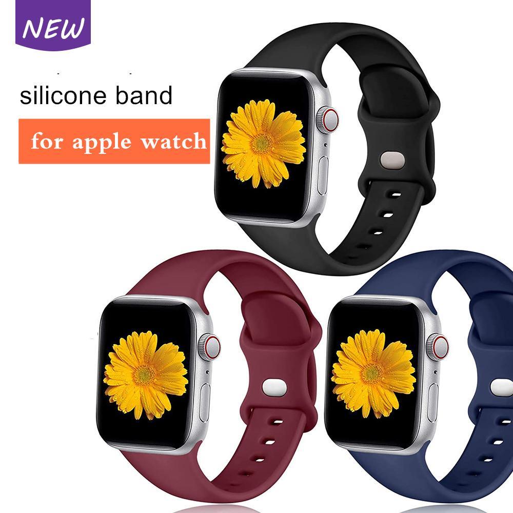 Renkli Yumuşak Silikon İzle Bandı Fitbit Versa3 / Sense Spor Askı Apple Watch Serisi için 1 2 3 4 5 6 SE Yedek Band 38/45/42 / 44mm