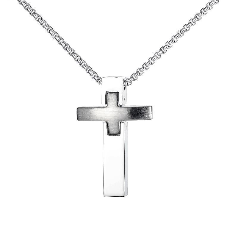 Punk Minimalist Stainless Steel Cross Pendants Men Necklaces Fashion Religious Neck Chains Hip Hop Jewelry Accessories Necklaces
