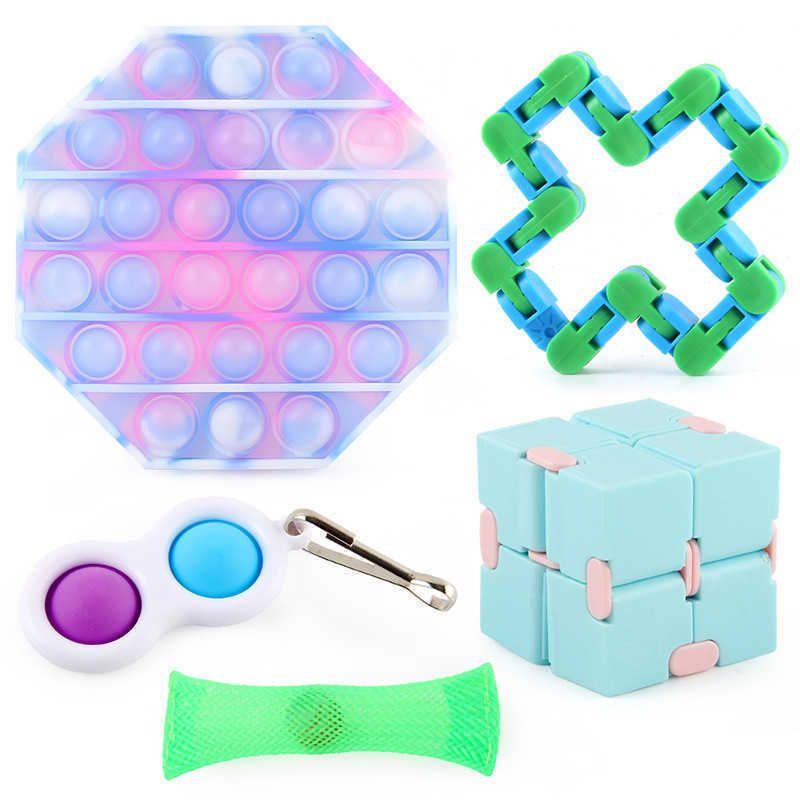 5 unids / pack Juguetes sensoriales Push Pop Bubbles Popper Board Cadena de pista Magic Snake Malla de mármol Bola de mármol Infinite Cube Simple Poppers Key Anillo Estrés Relieve Caja G64AK7J