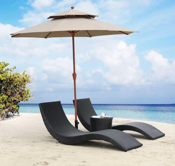 Lagermöbel Strandbett, Rattan-Liegestuhl, Außenpool Garten Balkon Freizeit