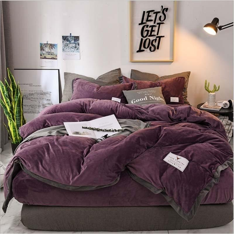 Factory direct selling popular luxury crystal bedding set down quilt cover sheet 4 pieces / set winter bed linen large double bed velvet hom
