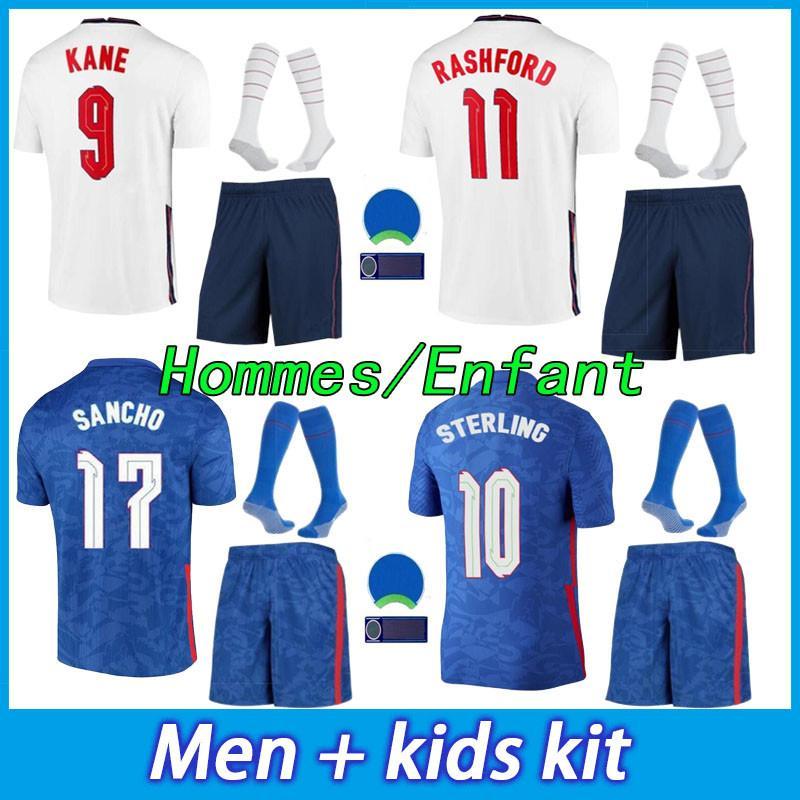 الرجال الاطفال كيت Soccer Jersey 20 21 الصفحة الرئيسية الاسترليني Kane Rashford Sancho Mount Abraham Dele أعلى جودة 2021 قميص كرة القدم الكبار