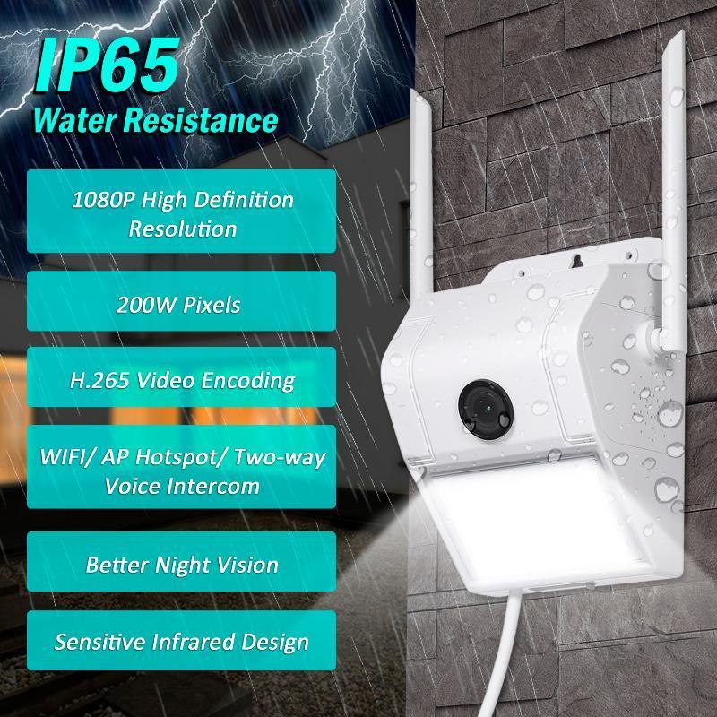 1080p WIFI SURVEILLANCE WIFI SURVEILLANCE EXTÉRIEUR DE VOYAGE DE SÉCURITÉ DE SECURITE AVEC CAPTEUR DE DETECTION DE MOTION PIR IP65 Résistance à l'eau IP65