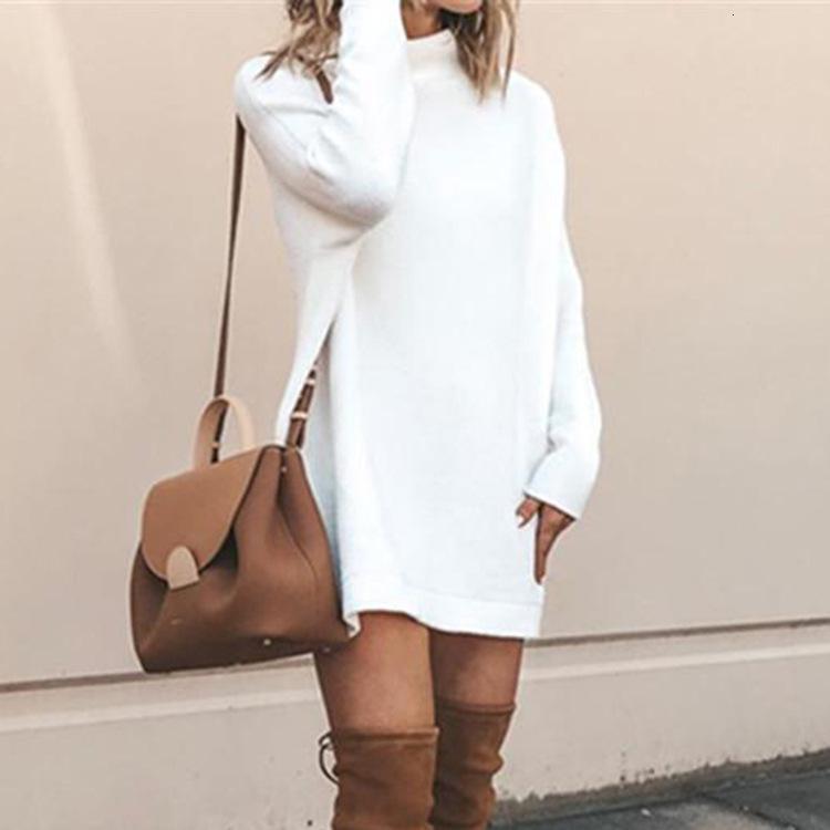 İlkbahar sonbahar kadın moda düz renk yüksek yaka uzun kazak 5L6P