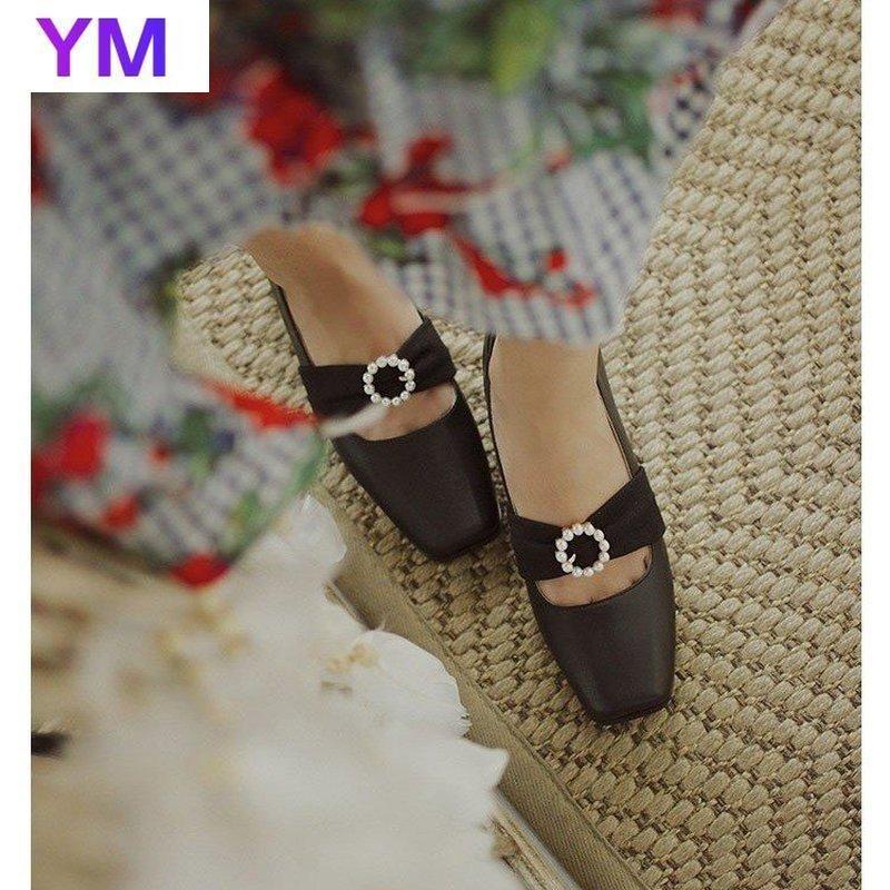 2021 Pearls Vintage flacher Mund dicke Fersenschuhe Frauen neue quadratische Zehe mit Schnallenriemen Retro Zapatos de Mujer plataforma35-40