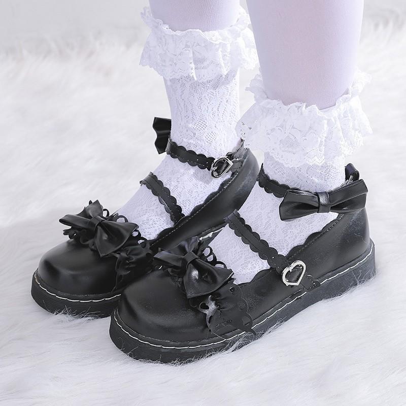 İlkbahar Sonbahar Lolita Ayakkabı Kelebek Düğüm Kızlar Ayakkabı Yuvarlak Ayak Mary Jane Ayakkabı Kadın Flats Ayak Bileği Kayışı Bayanlar Siyah 8210n
