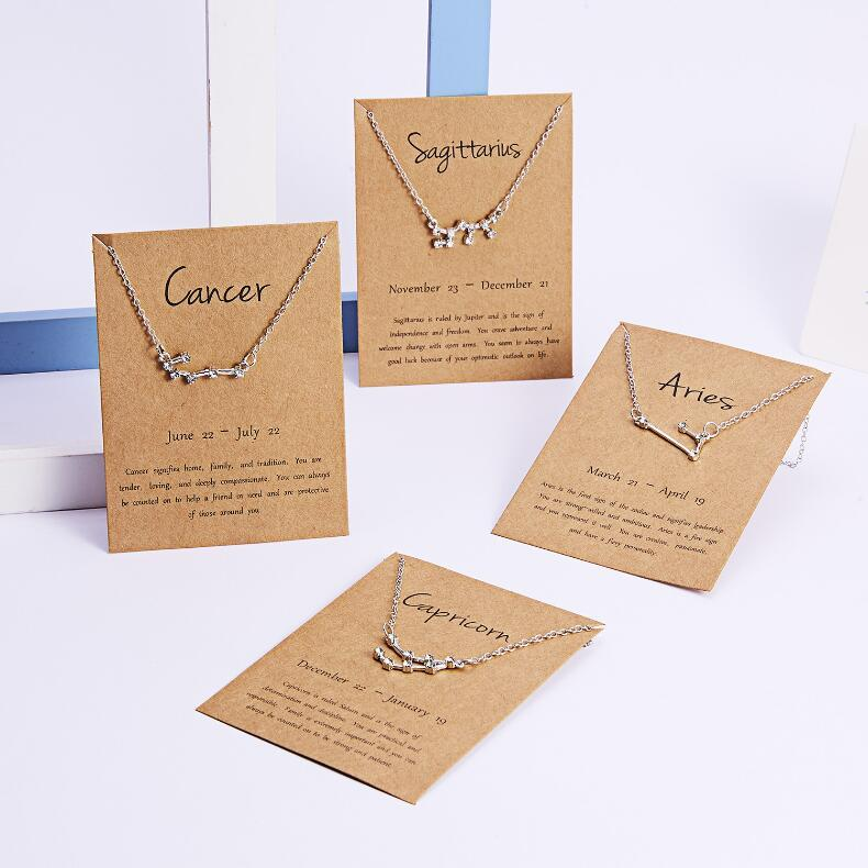 12 Constellation Zodiac Necklace Horoscope Sign Zircon Korean Jewelry Star Galaxy Libra Astrology Women Necklace Gift with Retail Card