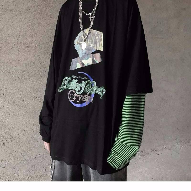 2021 Nuove T-Shirt Homen Primavera Manga Longa O-Pescoo Camisa Masculina Preto Roupas Moda Retalhos Hip Hop T Topos Yamy
