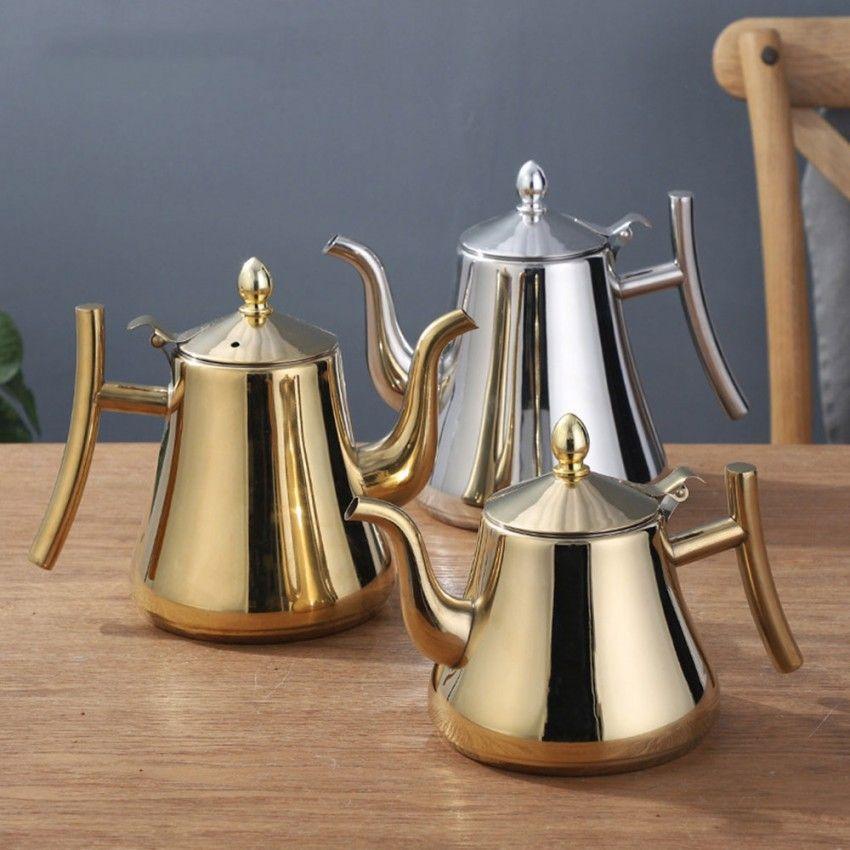 1L / 1.5L Théière en acier inoxydable en acier inoxydable Théière plus épaisse avec filtre Hotel Tea Pot Pot de café Pot à café Tea Bouilloire Bouilloire Or Argent