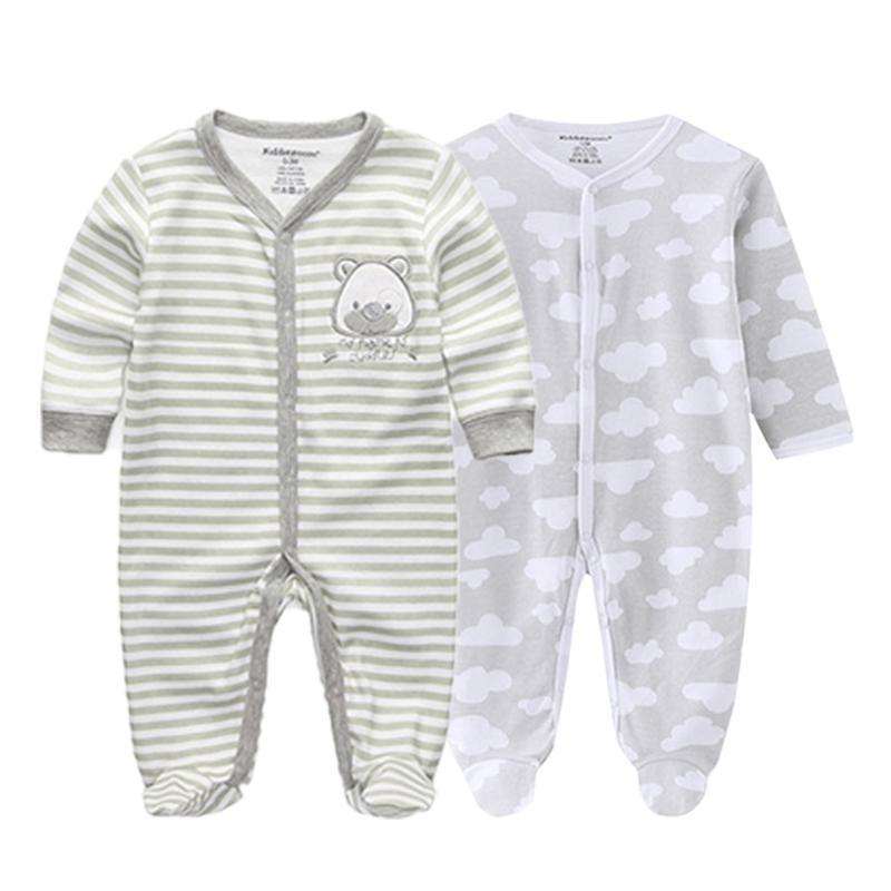 Conjuntos de ropa 2 unids / set Born Baby Boy Boy Chica Ropa Ropa 100% algodón Pijamas suaves Monos Largo Sheeve Infantil