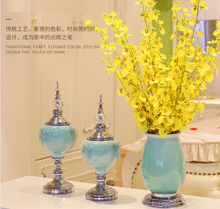 Estilo Europeu flor esmalte cerâmica ornamentos entrada caixa de tv mesa decorações criatividade para flores vaso de decoração