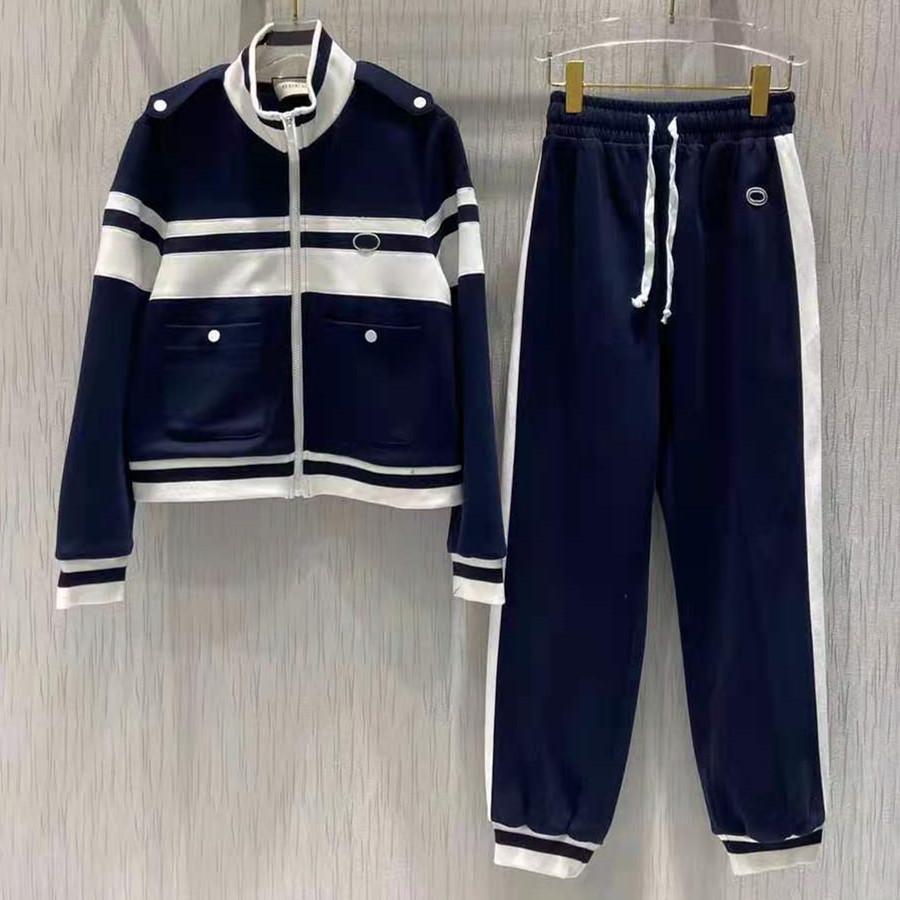 Nouveaux femmes Jersey PiquetJogging Pantalon Pantalon Cordon Zip Mip-Up Jacket Bouton Designer Lady Vintage Sportswear Stripes Coupes de tricot de côtoyages