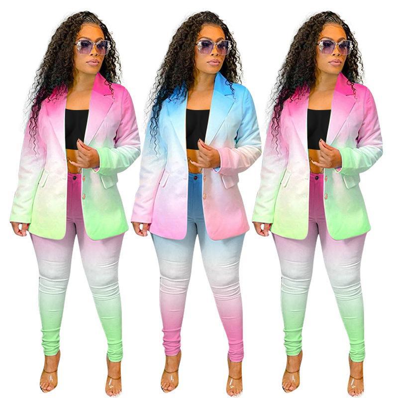2021 التدرج إمرأة دعوى منفصلة مكتب ارتداء الأعمال سترة السترة والسراويل طماق مجموعة معطف زر لربيع الصيف القماش NK203