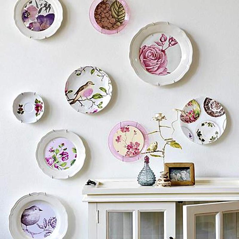10 Pack Plate Вешалки, 6-дюймовые вешалки на стене и 10 упаковывают настенные крючки, совместимые 5-7 дюймов декоративные пластины, античный Китай