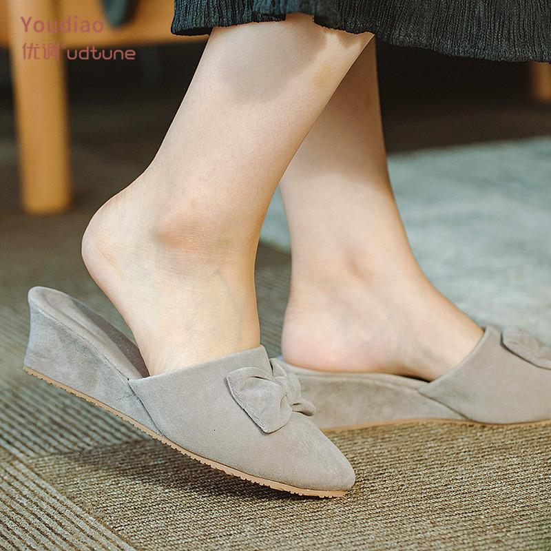 2021 New Office Indoor Slippers for Women Wee Heel Sexy Shoes Black/grey Suede High Heels Slides Women's Home Slipper Mules We2y
