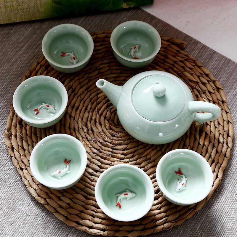 Celadon Small Fish Cup Carp Tea Set Teapot Opening Company Gift Box Ceramic Kung Fu Suit