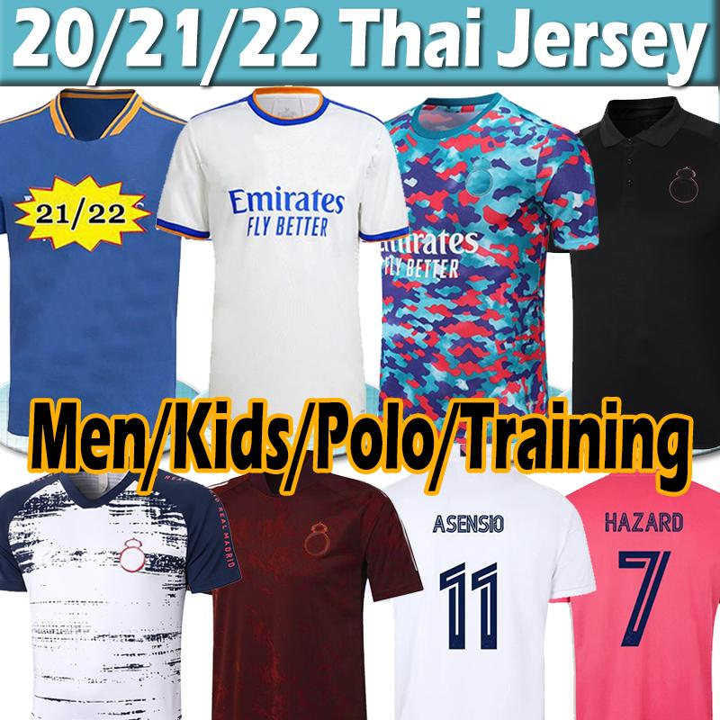 21/22 Real Madrid soccer jerseys SERGIO RAMOS HAZARD BENZEMA 2021 2022 ASENSIO MODRIC MARCELO jersey men kids kits football shirt polo training uniforms Thai
