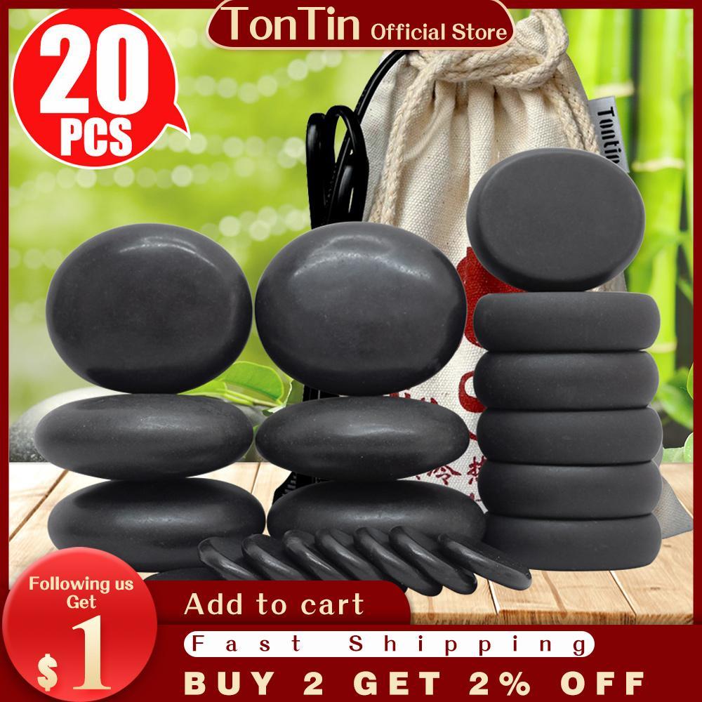 Tontin Sıcak Taş Masaj Seti Yuvarlak Taş Bazalt Masaj Taşları Masaj Aracı Salon Spa Isıtıcı Çanta 220 110 Volt CE ve ROHS